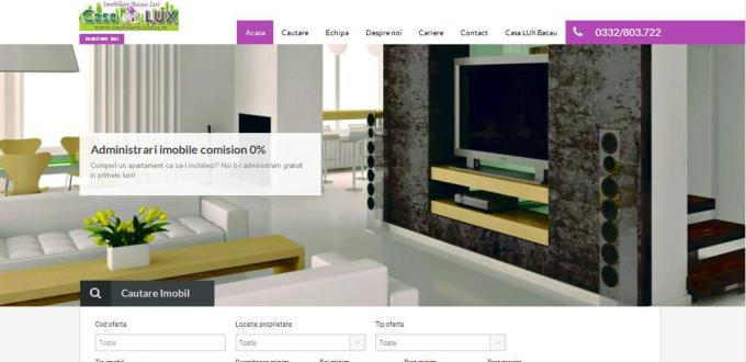 Creare site web Bacau, Creare site web Iasi, Creare site agentia imobiliara Casa Lux Iasi si Bacau